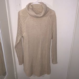 Dresses & Skirts - Cream Turtleneck Sweater Dress